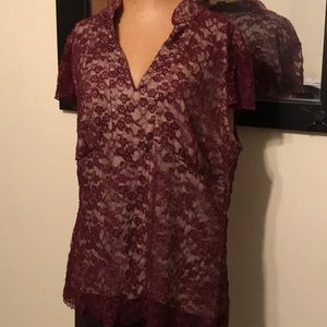 Lane Bryant Wine Lace Top 14/16